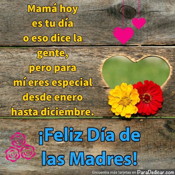 Tarjeta de Mamá hoy es tu día o eso dice la gente,  Feliz Día de las Madres!