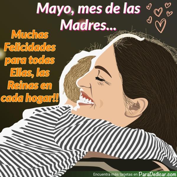 Tarjeta de Mayo, mes de las Madres... Muchas felicidades