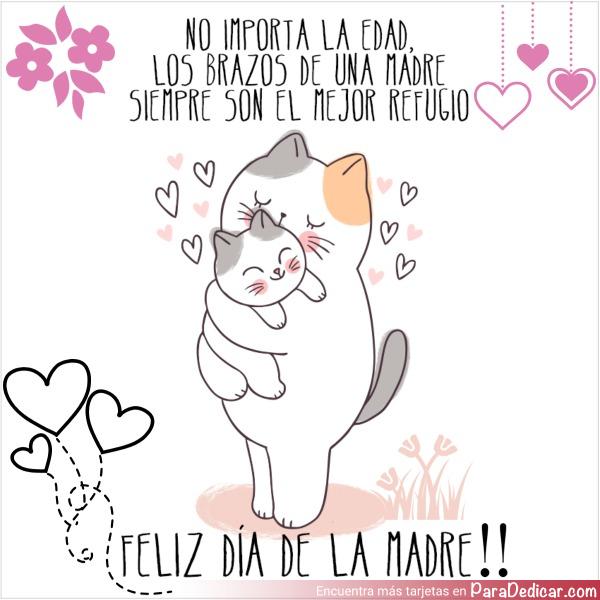 Tarjeta de No importa la edad, los abrazos de una Madre siempre son el mejor refugio. Feliz Día de la Madre!!