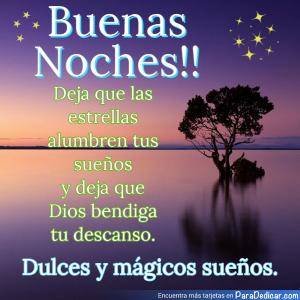 Tarjeta de Buenas Noches!! Dulces y mágicos sueños.