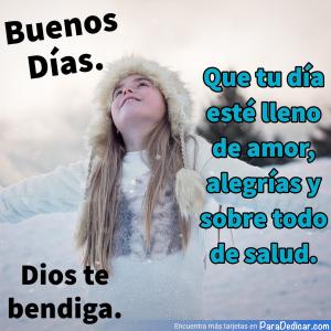 Tarjeta de Buenos Días. Dios te bendiga.