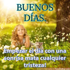 Tarjeta de Buenos Días. Empezar el día con una sonrisa mata cualquier tristeza!
