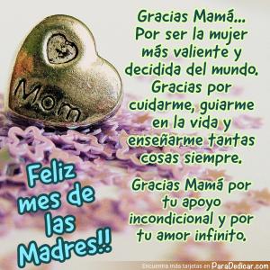 Tarjeta de Gracias Mamá... Por ser la mujer mas valiente y decidida del mundo. Feliz mes de las Madres!!