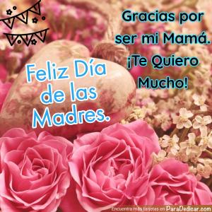 Tarjeta de Gracias por se mi mamá. Feliz Día de las Madres.