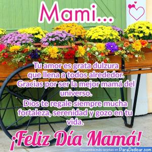 Tarjeta de Mami... Tu amor es grata dulzura que llena a todos alrededor. Gracias por ser la mejor mamá del universo. Feliz Día Mamá!